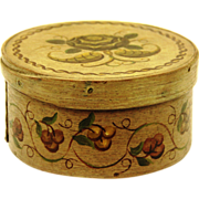 Folk Art Circular Bentwood Box, Hand-painted, late 19th century