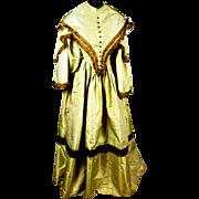SOLD Rare Civil-War Era Golden Silk Brocade Crinoline Gown, c1860