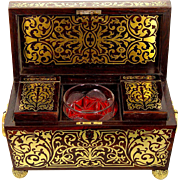Magnificent Regency Tea Chest with Foliate Brass Inlay and Cut Glass Sugar Bowl, c1820