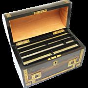 Coromandel and Brass Stationery Box, Victorian