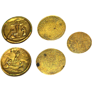 Boxed Brass Miniature Religious Tokens, early 20th Century