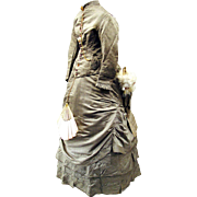 SOLD Bustle Wedding Gown with Provenance, Watch and Parasol Pockets with Fan, c1874
