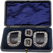 Boxed Set of Four Cut Steel Buckles, early 19th century
