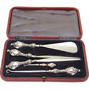 Boxed Sterling Silver Toiletry Accessories, c1899