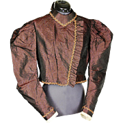 Attractive Silk Bodice with Beaded Braid and Crochet Watch Pocket, c1895