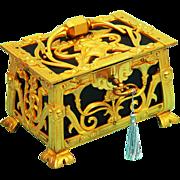 Art Nouveau Jewellery/Jewelry Casket, Ormolu and Leather with key