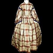 SALE American Plaid Silk Gown, Pre-Civil War