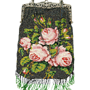 Extra Large Beaded Purse with Pink Roses & Silvered Frame, Early 20th Century
