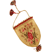 Woven and Crochet Reticule Purse, 19th Century