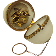 SOLD Opaline and Ormolu Egg-form Finger Ring Sewing/Needlework Chatelaine or Compendium, Early
