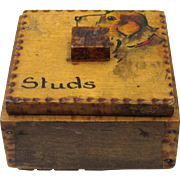 SOLD Sweet Folk Art Poker Work Stud Box with Painted Dog's Head, Early 20th Century