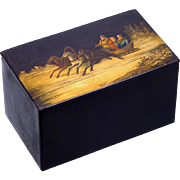 Russian Papier Mache Tea Caddy with Painted Troika Scene, late 19th Century