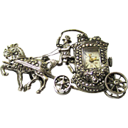 "SALE Marcasite Brooch Watch in the Form of a Horse & Carriage, Marked ""Olymp"", Early"