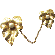 Vintage Sarah Coventry Gold Tone Double Brooch Chatelette