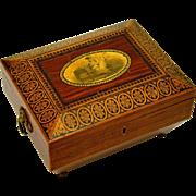 SOLD Fabulous Georgian Tunbridge Sewing Box, Penwork & Transfer Decoration, with Original Tool