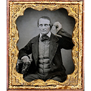 Amazing Ambrotype depicting Victorian Gentleman Listening to Watch Attached to his Guard Chain