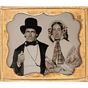 SALE Hand-coloured Ambrotype of Couple with Extraordinary Hats, Gentleman with Cord Watch Guar