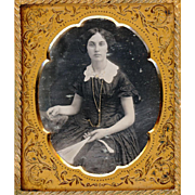 SALE Beautiful Daguerreotype of Lady with Fan, Guard Chain & Watch, c1850