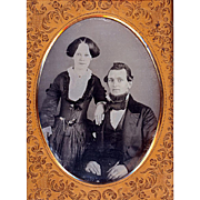 SALE Pre-Civil War Daguerreotype of a Couple, Lady with Watch & Chain at the Waist