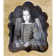 SALE Hand-coloured Daguerreotype of Seated Girl with Cord Guard Chain & Watch at the Waist ...