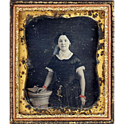 SALE Delightful Hand-coloured Daguerreotype of a Girl with Chatelaine, Full Case, c1850