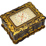 SOLD Jennens & Bettridge Sewing Box, Papier Mache
