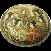 Classic Satsuma Buckle with Six Geisha Girls, late Victorian
