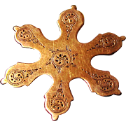 Super Rare 9ct Rose Gold Snowflake Silk Winder from a Palais Royal-style Box, early ...