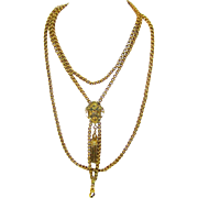 Stunning 14ct Gold & Seed Pearl Guard Chain with Slide, Swivel & Tassel, American, c1870-1880