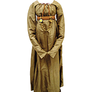 SALE Rare Taupe Regency Silk Gown with Fall-front Bodice, early 19th Century, Jane Austen Era