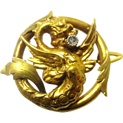 Elegant Gold Watch Brooch/Holder in Griffin-form with Diamond, French, late 19th Century