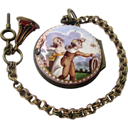 Fabulous Watch-form Staffordshire Enamel Patch Box Macaroni Chatelaine with Chain, late 18th .