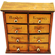 Spice Chest, 19th Century, German labels