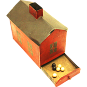 Tole Black Ball Ballot Voting Box in the form of a house, 19th century