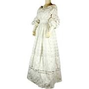 SOLD Stunning Late Regency Hand-embroidered White Patterned Muslin Gown