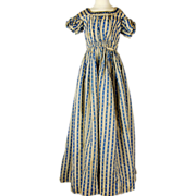 Late Regency Blue and Cream Roller Printed Gown with Puff Sleeves and watch pocket, Jane ...
