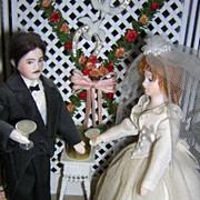 Vintage Miniature Bride & Groom Wedding Gazebo Vignette by Anita Blank