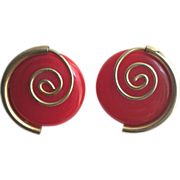 Bakelite Earring in Red with Brass