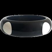 Black Bangle Bracelet with White Dots