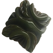 Bakelite Ring Heavily Carved in Green
