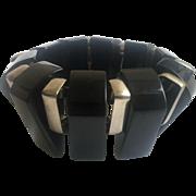 Bakelite Black and Chrome Stretch Fin Bracelet