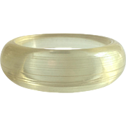 Lucite Bangle Bracelet Heavy Domed Carved in Champagne