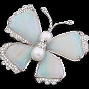Important Vintage  C. Bonnetaud Paris Opal, Pearl And Diamonds Brooch