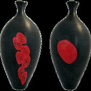 Signed Afro Celotto Matt Black And Red Murano Glass Vase *Levante*. 1980s