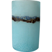 Signed Barbini Cylindrical Ghiacciato Art Glass Vase Murano Italy 1960's