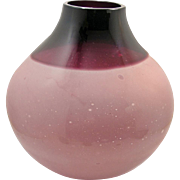 Large Rose and Violet Murano Glass Art Vase by Barbini. 1970s