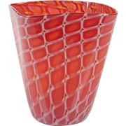 Archimede Seguso Losanghe red flared Murano art glass vase, 1953