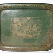 SALE English Antique Large Tole Tray Country Life Scene 19th Century Nobili Antiques