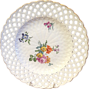SALE Antique Meissen Hand Painted Porcelain Plate with Flowers and Reticulated Edge
