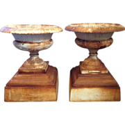 SALE On Sale! Pair 19th-C. Cast Iron Tazza Garden Urns, Signed